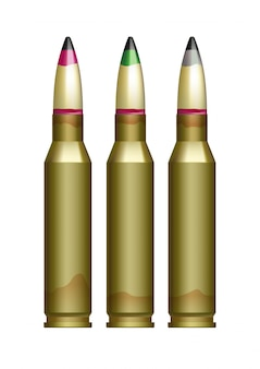 Cartucho de armas de grande calibre com balas marcadas de cores diferentes.