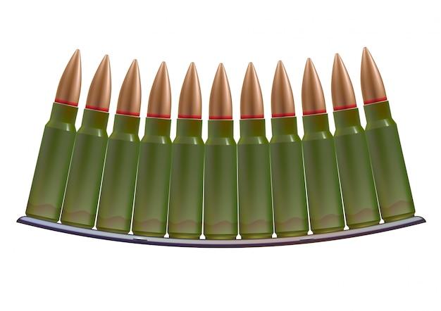 Cartuchos de munição. bala de cobre nos casos verdes.