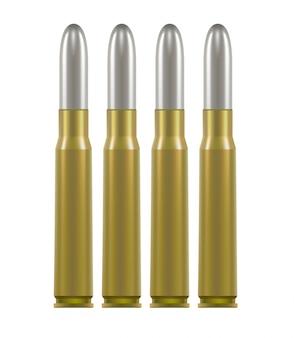 Cartuchos de munição. estojos de latão com bala de prata dentro.
