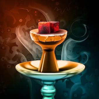 Carvões quentes do vetor do cachimbo de água na tigela de shisha com vapor no fundo colorido vista frontal