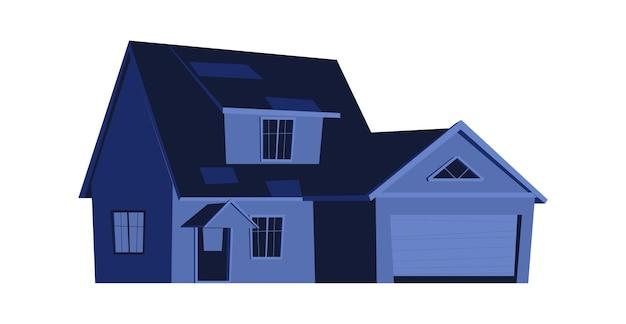 Casa à noite, construção com janelas brilhantes no escuro, desenho animado