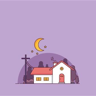 Casa à noite violet sky estilo minimalista ilustração vetorial