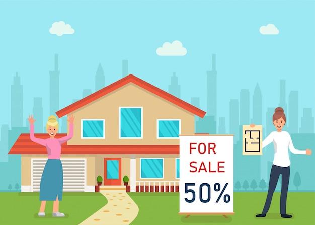 Casa à venda, conceito de agência imobiliária flat