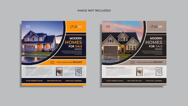 Casa à venda mídia social imobiliária pós design 2 em 1 pacote com formas abstratas multicoloridas e informações.