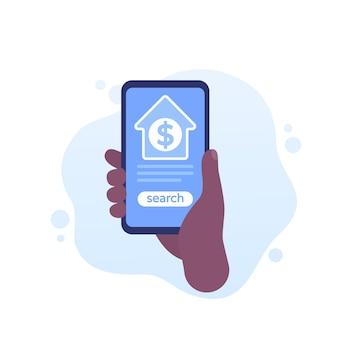 Casa à venda, pesquisa com um aplicativo de telefone, vetor