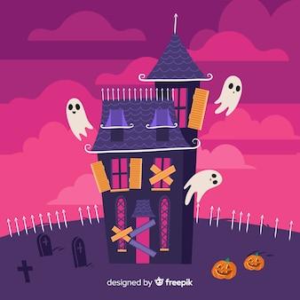 Casa abandonada em um cemitério e fantasmas