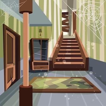 Casa abandonada. quarto interior quebrado interior ninguém vazio em casa abandonada fundo de desenho animado do edifício. Vetor Premium