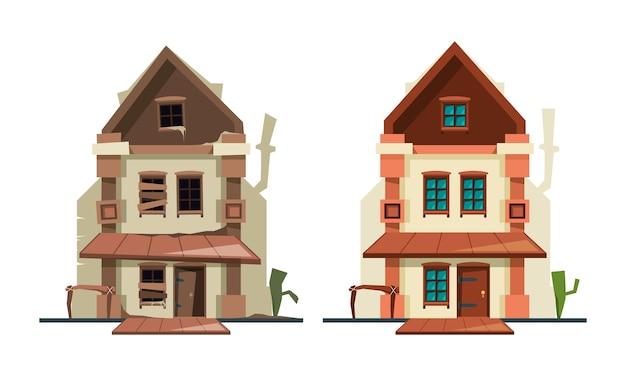 Casa abandonada. repare o exterior do edifício antigo da casa de campo, fixando fotos planas de novas casas de objetos arquitetônicos