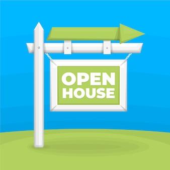 Casa aberta à venda com seta ao ar livre