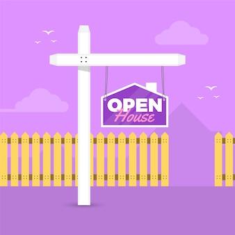 Casa aberta e cerca de propriedade