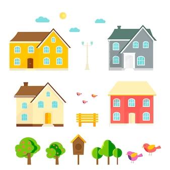 Casa abstrata, casa, cabana, árvores, flores, banco, casa de pássaros