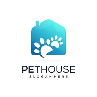 Casa abstrata com combinação de logotipo de forma de animal de estimação