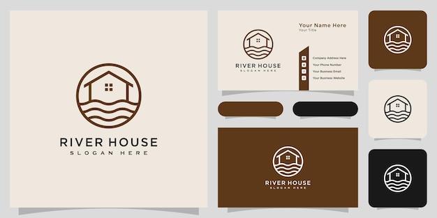 Casa abstrata de linha minimalista com logotipo do rio