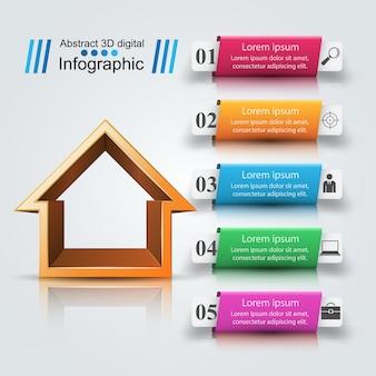 Casa, abstratos, 3d, ícone