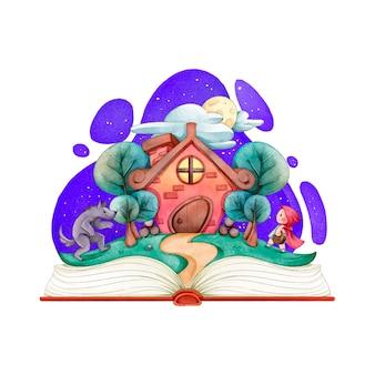 Casa acolhedora de conto de fadas em um livro