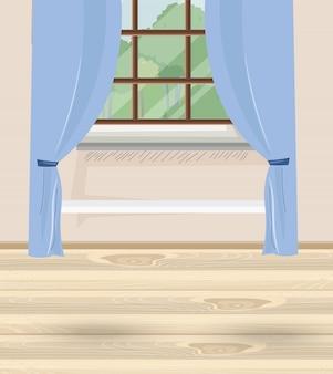 Casa aconchegante com cortinas azuis e janela com vista para a natureza e as árvores