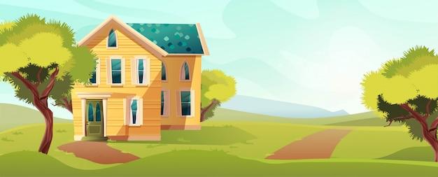 Casa amarela na natureza paisagem. ilustração dos desenhos animados