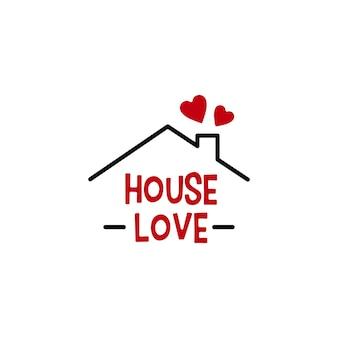 Casa, amor, coração, casa, imóveis, hipoteca, telhado, chaminé, logotipo, vetorial, ícone, illustration