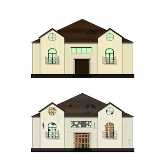 Casa antes e depois do reparo