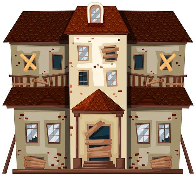 Casa antiga com janelas quebradas