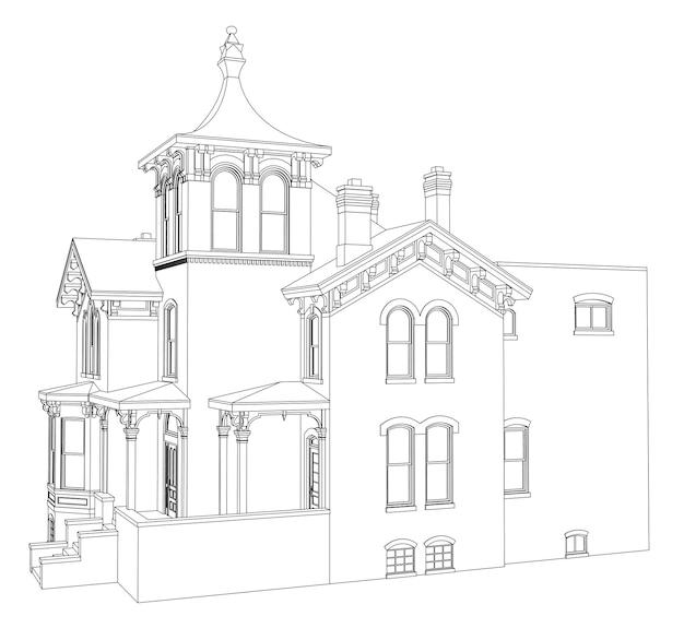 Casa antiga em estilo vitoriano. ilustração em fundo branco. espécies de diferentes lados.