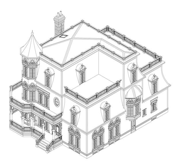 Casa antiga em estilo vitoriano. ilustração em fundo branco. ilustração a preto e branco em linhas de contorno. espécies de diferentes lados.