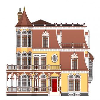 Casa antiga em ilustração de estilo vitoriano