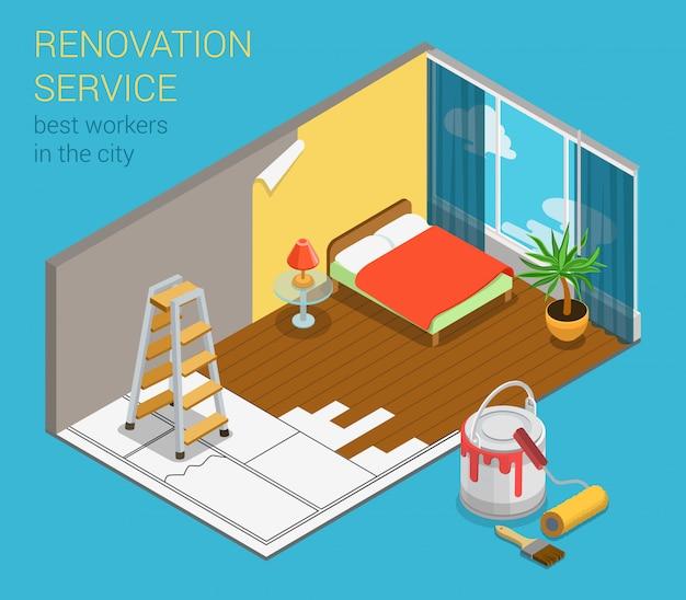 Casa apartamento serviço de renovação de negócios conceito isométrico quarto interior redecoração com nova escada de pintura de papel de parede