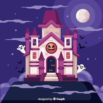 Casa assombrada de halloween em design plano