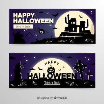 Casa assombrada e cemitério em banners de halloween de colina