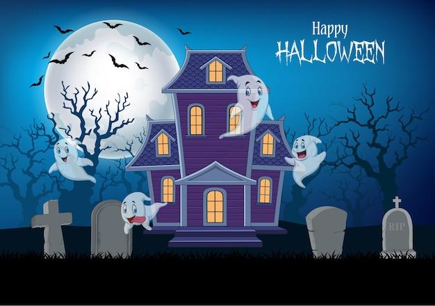 Casa assombrada e fantasma com fundo de halloween
