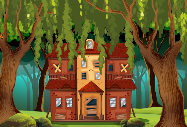 Casa assombrada na floresta
