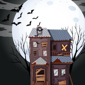Casa assombrada na noite de fullmoon