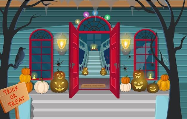 Casa assustadora com escadas, fantasmas, portas, abóboras, halloween, ilustração vetorial, artoon, decoração