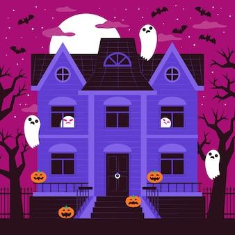Casa assustadora de halloween com design plano