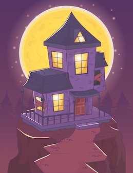 Casa assustadora na cena noturna de colina halloween