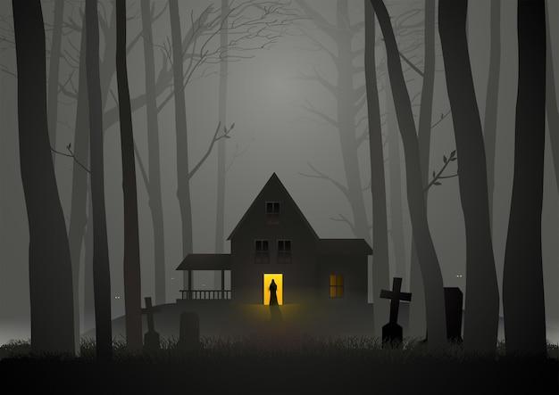 Casa assustadora na floresta