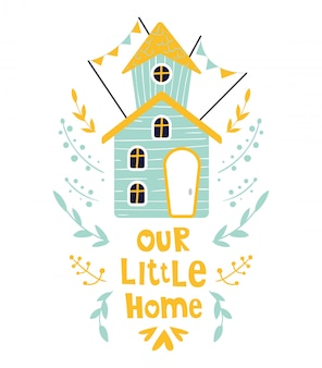Casa bonito dos desenhos animados ou cartão de casa
