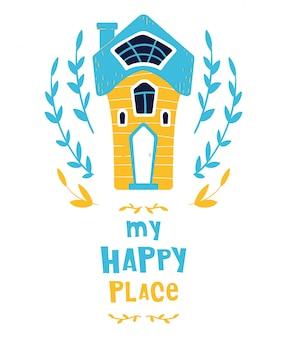 Casa bonito dos desenhos animados ou casa, lettering, cartão