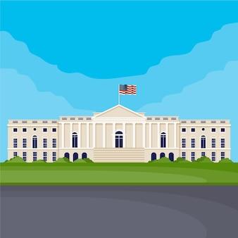 Casa branca e bandeira de design plano