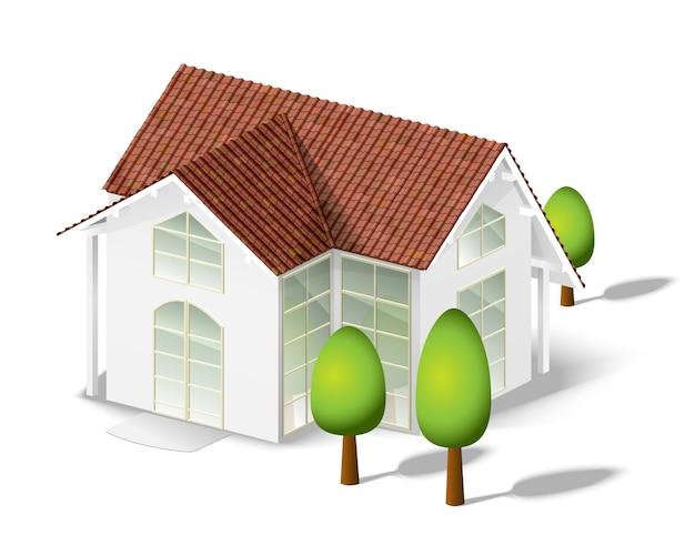 Casa branca e poucas árvores isoladas em branco