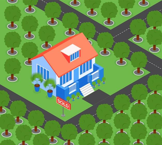 Casa cercada por árvores