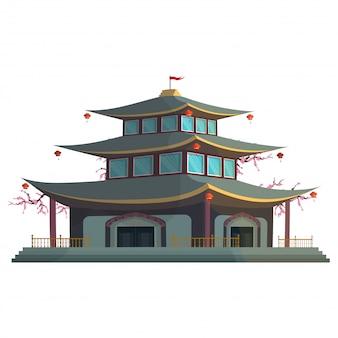 Casa chinesa isolada em um fundo branco.