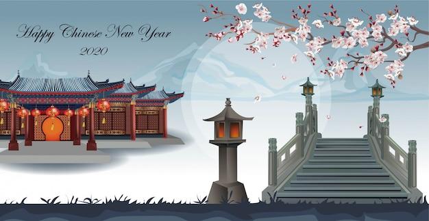 Casa chinesa no jardim com belas árvores de ameixa, atravessando a ponte na montanha