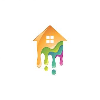 Casa colorida e logotipo de tinta pingando