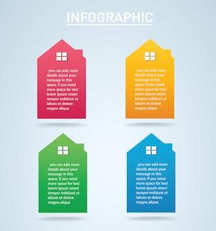Casa colorida infográfico 4 opções vector