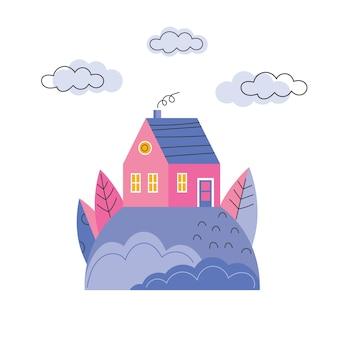 Casa colorida na colina. modelo de banner de vetor plano de casas aconchegantes