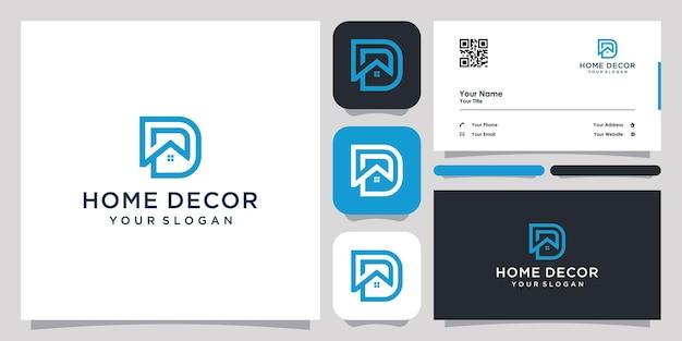 Casa com a letra d logotipo ícone símbolo modelo logotipo e cartão de visita