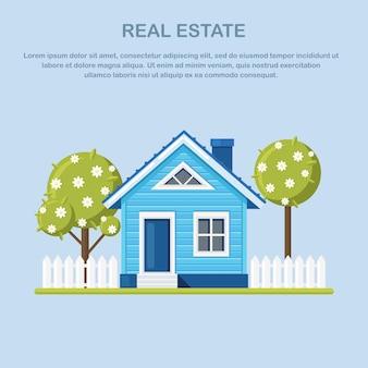 Casa com árvore, cerca no subúrbio. aluguel de imóveis, propriedades