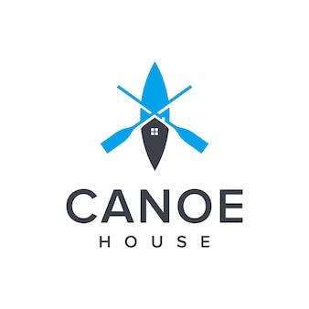 Casa com canoa e remo simples, elegante, criativo, geométrico, moderno, design de logotipo